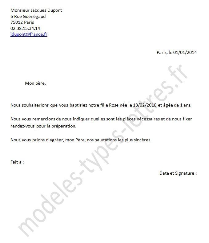 modele lettre pour bapteme Lettre adressé à un prete pour l'organisation d'un baptême modele lettre pour bapteme