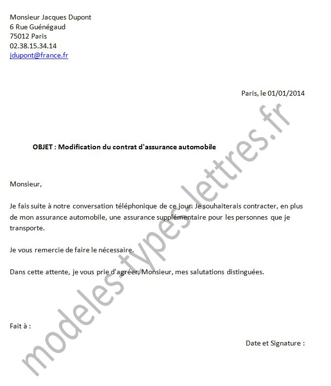 lettre de modification de contrat de travail Demande de modification du contract d'assurance automobile lettre de modification de contrat de travail
