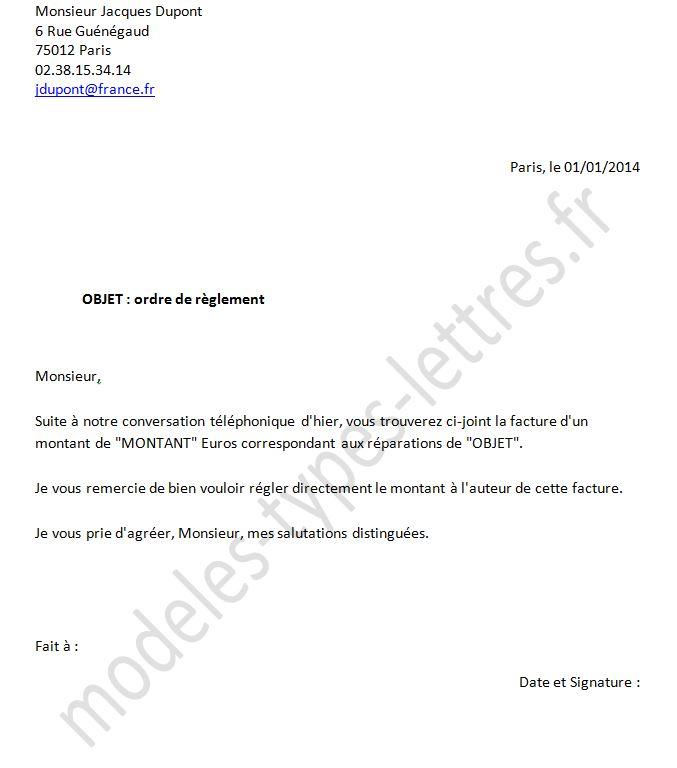 modele lettre prise en charge mutuelle Modèle de lettre d'ordre de réglement d'assurance modele lettre prise en charge mutuelle