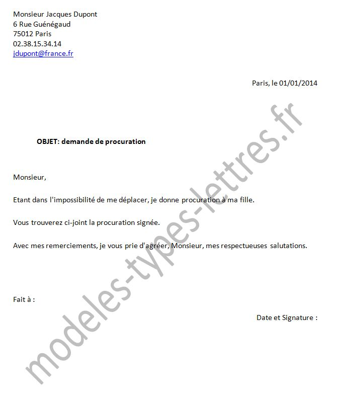Sample Cover Letter: Exemple De Lettre De Procuration De Vote