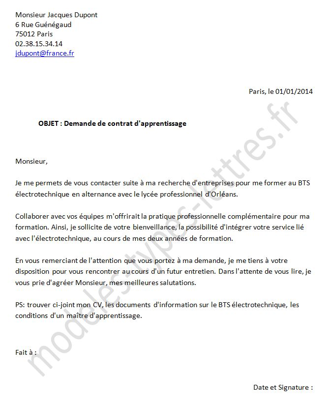Modele De Lettre De Motivation Pour Un Contrat D Apprentissage