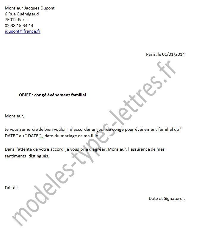 lettre demande de vacances