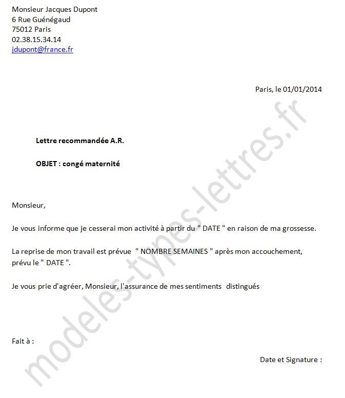 lettre de demande de cong u00e9 maternit u00e9