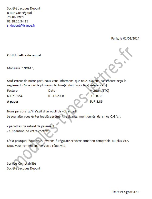 exemple lettre facture impayee