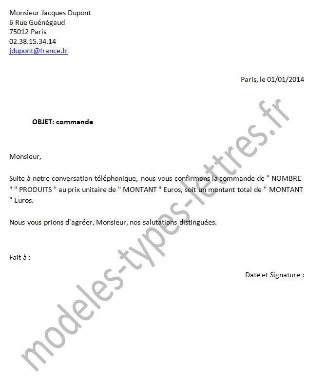 lettre type commande Modèles de lettre concernant une commande à un fournisseur lettre type commande