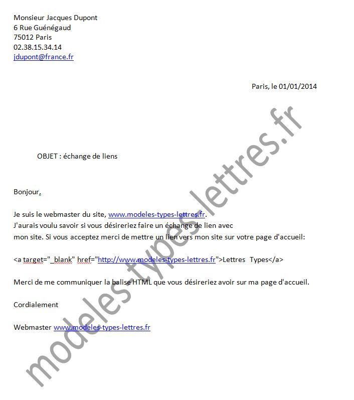 lettre fr Modèle de lettre concernant une demande d'échange de lien lettre fr