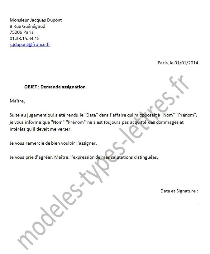 modele lettre assignation Modèle de lettre concernant une demande d'assignation modele lettre assignation