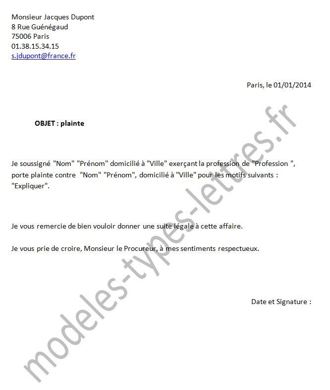 exemple lettre procureur de la république Modele Lettre Au Procureur De La République | sprookjesgrot exemple lettre procureur de la république