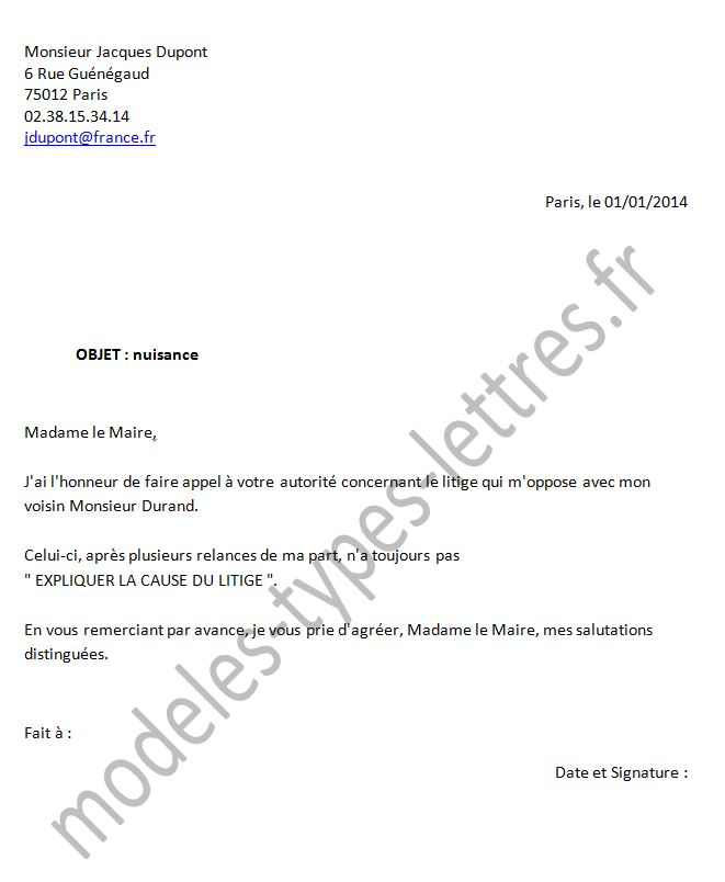 modele lettre adressee au maire