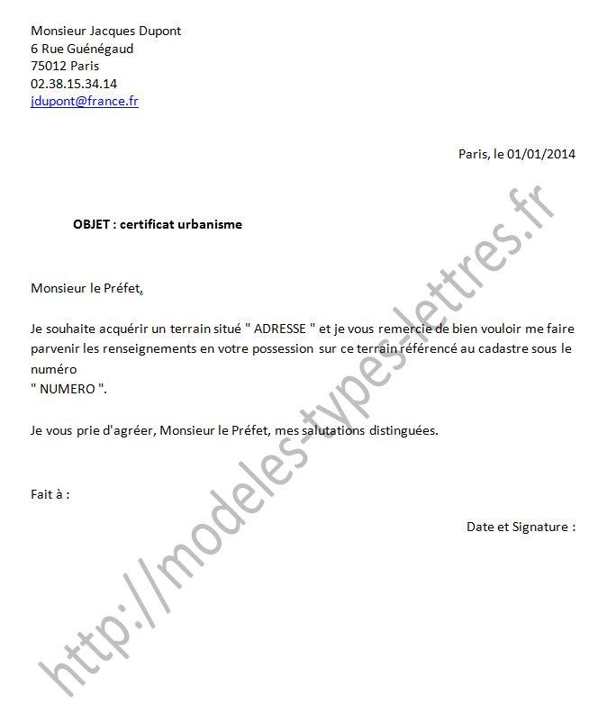mod u00e8le de lettre pour obtenir un certificat d u0026 39 urbanisme