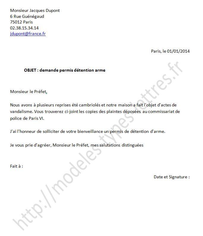 mod u00e8le de lettre pour l u0026 39 autorisation de port d u0026 39 arme