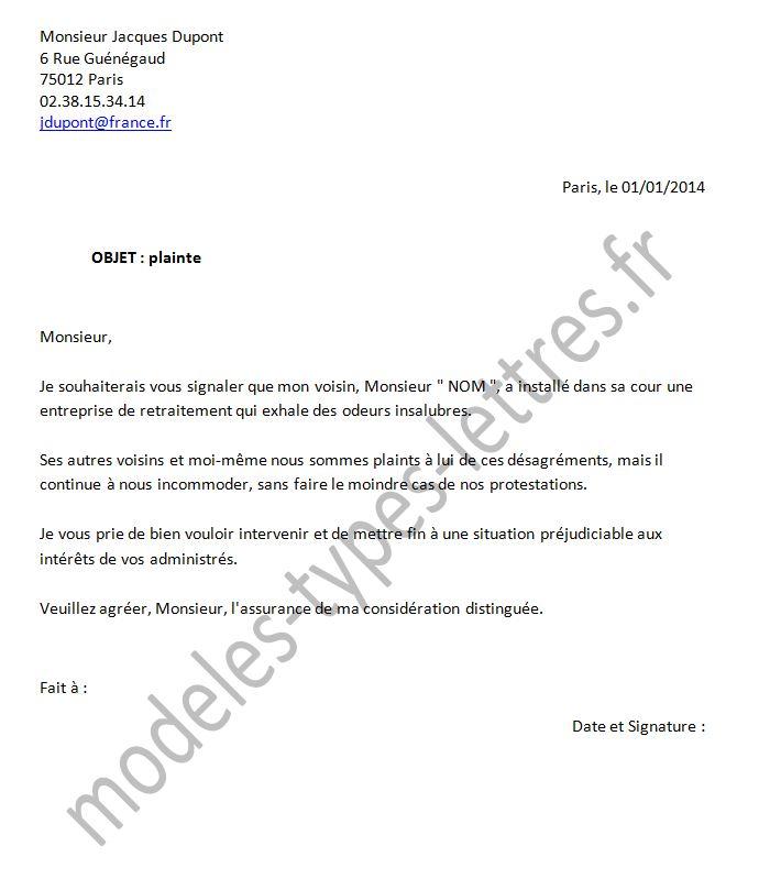 lettre de plainte pour nuisance olfactive